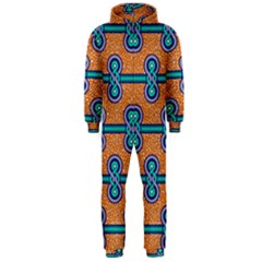 African Fabric Iron Chains Blue Orange Hooded Jumpsuit (Men)