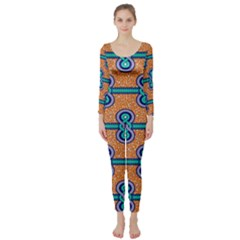 African Fabric Iron Chains Blue Orange Long Sleeve Catsuit