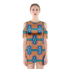 African Fabric Iron Chains Blue Orange Shoulder Cutout One Piece