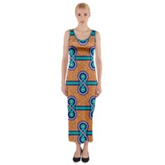 African Fabric Iron Chains Blue Orange Fitted Maxi Dress