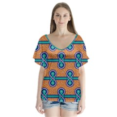 African Fabric Iron Chains Blue Orange Flutter Sleeve Top