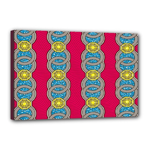 African Fabric Iron Chains Red Yellow Blue Grey Canvas 18  x 12
