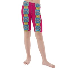 African Fabric Iron Chains Red Yellow Blue Grey Kids  Mid Length Swim Shorts