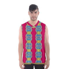African Fabric Iron Chains Red Yellow Blue Grey Men s Basketball Tank Top