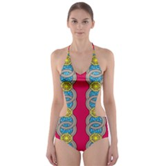 African Fabric Iron Chains Red Yellow Blue Grey Cut Out One Piece Swimsuit