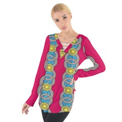 African Fabric Iron Chains Red Yellow Blue Grey Women s Tie Up Tee
