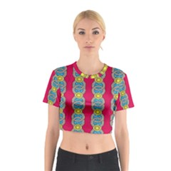African Fabric Iron Chains Red Yellow Blue Grey Cotton Crop Top