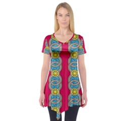 African Fabric Iron Chains Red Yellow Blue Grey Short Sleeve Tunic