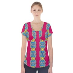 African Fabric Iron Chains Red Yellow Blue Grey Short Sleeve Front Detail Top