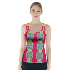 African Fabric Iron Chains Red Yellow Blue Grey Racer Back Sports Top