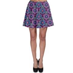 African Fabric Flower Purple Skater Skirt