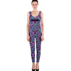 African Fabric Flower Purple OnePiece Catsuit