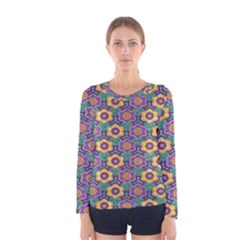 African Fabric Flower Green Purple Women s Long Sleeve Tee