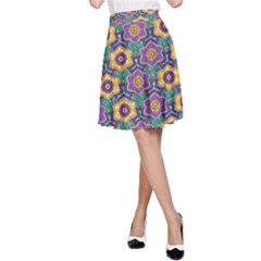 African Fabric Flower Green Purple A Line Skirt