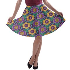 African Fabric Flower Green Purple A-line Skater Skirt