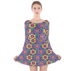 African Fabric Flower Green Purple Long Sleeve Velvet Skater Dress