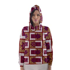 African Fabric Star Plaid Gold Blue Red Hooded Wind Breaker (Women)