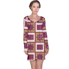 African Fabric Star Plaid Gold Blue Red Long Sleeve Nightdress