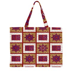 African Fabric Star Plaid Gold Blue Red Large Tote Bag