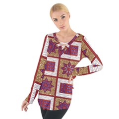 African Fabric Star Plaid Gold Blue Red Women s Tie Up Tee