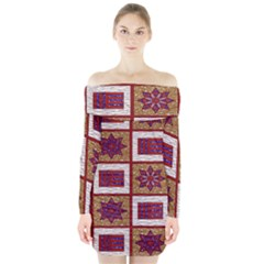 African Fabric Star Plaid Gold Blue Red Long Sleeve Off Shoulder Dress