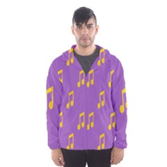 Eighth Note Music Tone Yellow Purple Hooded Wind Breaker (Men)