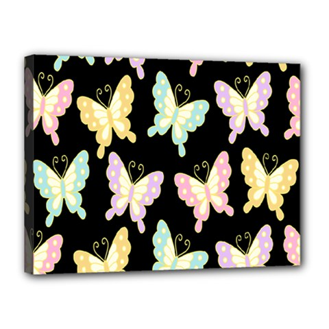 Butterfly Fly Gold Pink Blue Purple Black Canvas 16  X 12
