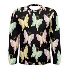 Butterfly Fly Gold Pink Blue Purple Black Men s Long Sleeve Tee