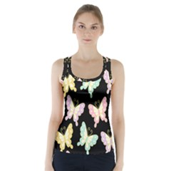 Butterfly Fly Gold Pink Blue Purple Black Racer Back Sports Top