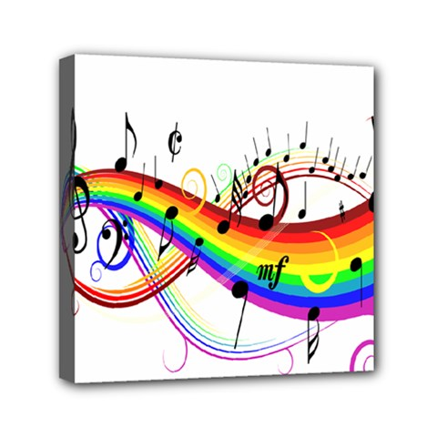 Color Music Notes Mini Canvas 6  x 6