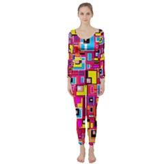 File Digital Disc Red Yellow Rainbow Long Sleeve Catsuit