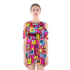 File Digital Disc Red Yellow Rainbow Shoulder Cutout One Piece