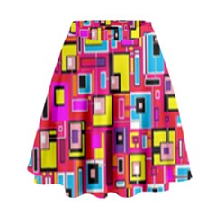 File Digital Disc Red Yellow Rainbow High Waist Skirt