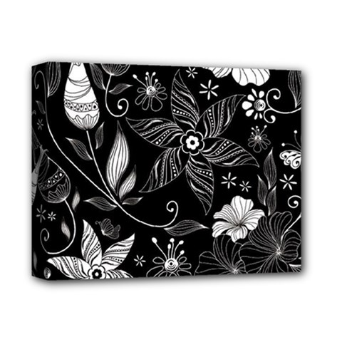 Floral Flower Rose Black Leafe Deluxe Canvas 14  x 11