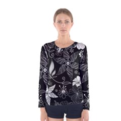 Floral Flower Rose Black Leafe Women s Long Sleeve Tee