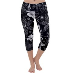 Floral Flower Rose Black Leafe Capri Yoga Leggings