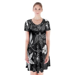 Floral Flower Rose Black Leafe Short Sleeve V-neck Flare Dress