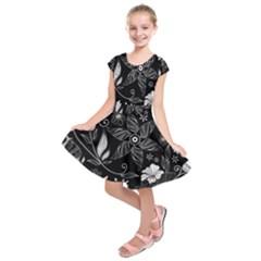 Floral Flower Rose Black Leafe Kids  Short Sleeve Dress