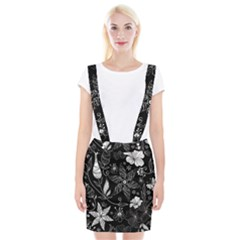 Floral Flower Rose Black Leafe Suspender Skirt