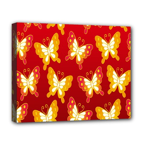 Butterfly Gold Red Yellow Animals Fly Deluxe Canvas 20  x 16
