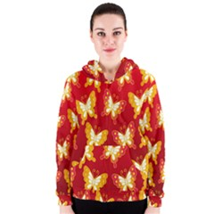 Butterfly Gold Red Yellow Animals Fly Women s Zipper Hoodie