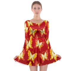 Butterfly Gold Red Yellow Animals Fly Long Sleeve Skater Dress