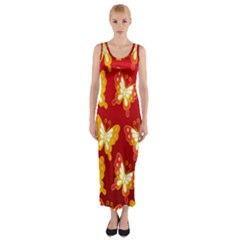 Butterfly Gold Red Yellow Animals Fly Fitted Maxi Dress