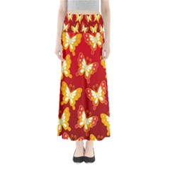 Butterfly Gold Red Yellow Animals Fly Maxi Skirts
