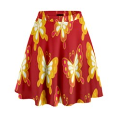 Butterfly Gold Red Yellow Animals Fly High Waist Skirt