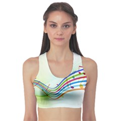 Color Musical Note Waves Sports Bra