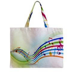 Color Musical Note Waves Zipper Mini Tote Bag