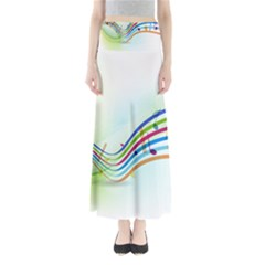 Color Musical Note Waves Maxi Skirts