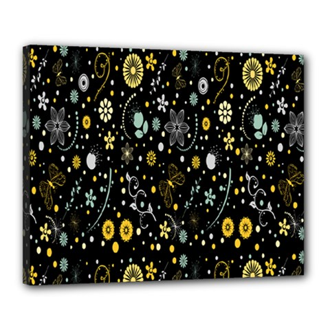 Floral And Butterfly Black Spring Canvas 20  x 16