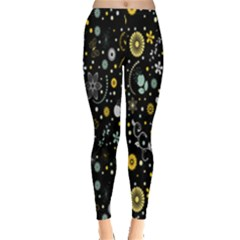 Floral And Butterfly Black Spring Leggings
